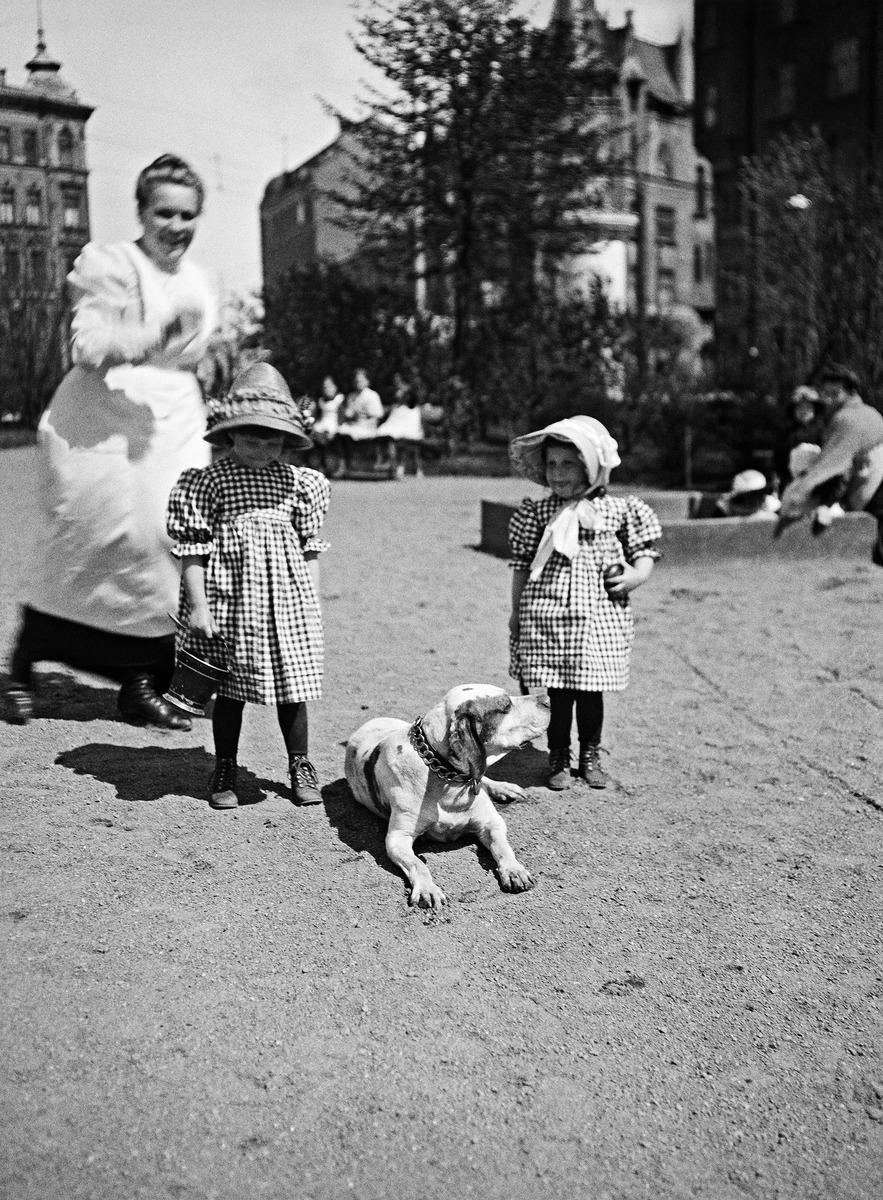 Lapsia Katajanokan puistossa lastenhoitajan tai kotiapulaisen seurassa 1910-luvulla, ks. myös kuva N1910.