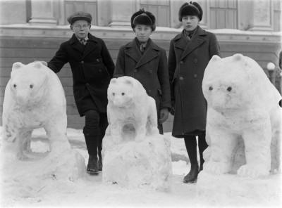 Kolme poikaa kolmen lumesta tehdyn karhun vierellä Agricolankadulla.