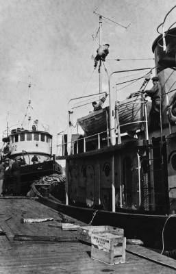Hinaajia Jätkäsaaren laiturissa Länsisatamassa, edessä mies mastossa.