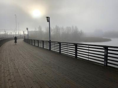 Töölönlahden puiston suunnasta tuleva pyöräilijä ylittää kevyen liikenteen siltaa Töölönlahden rannalla rautatieraiteiden tuntumassa