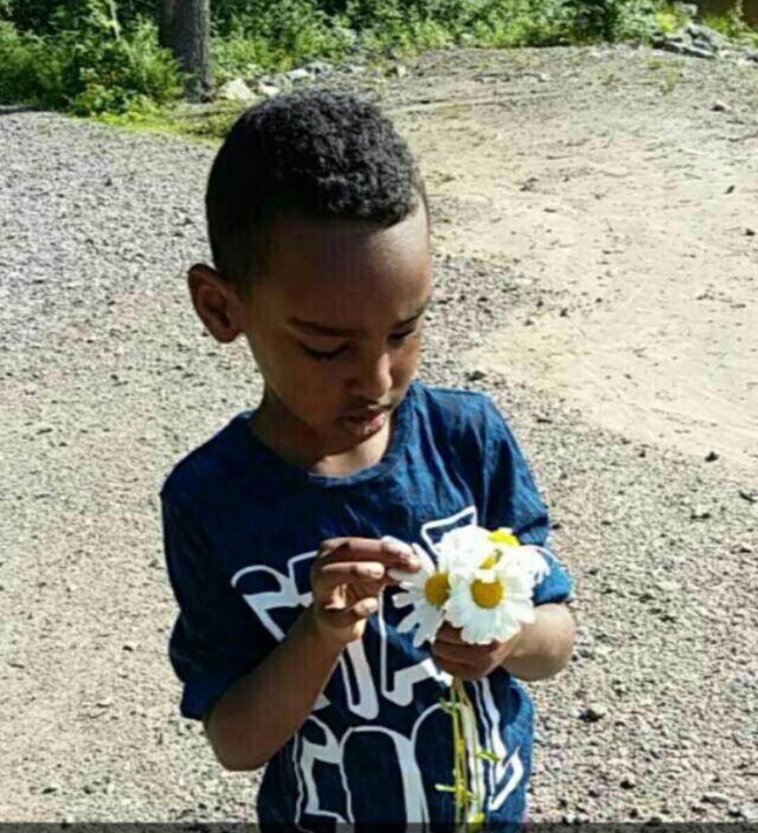 Metsäretkellä Laajasalossa, kuvassa poika, joka on kerännyt päivänkakkaroita.