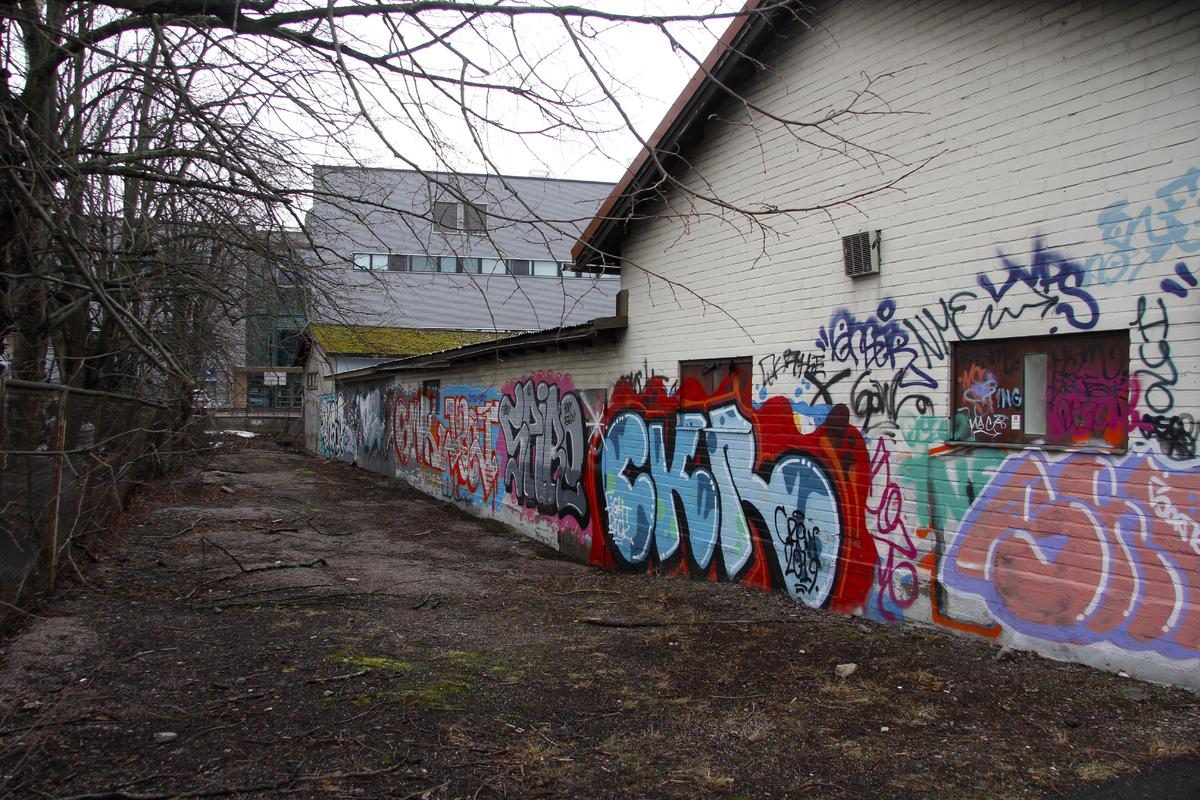 Rakennusten vieressä olevaa jättömaata Herttoniemen teollisuusalueella