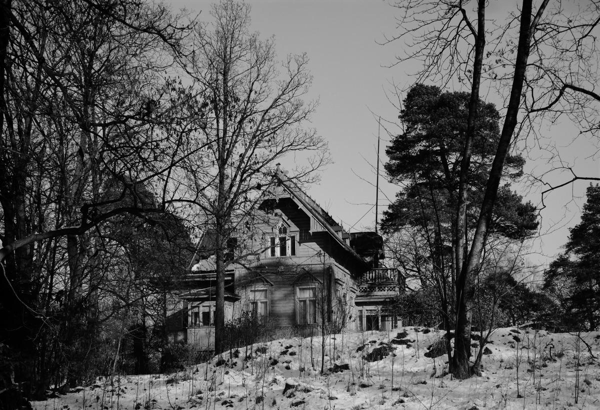 Villa Solhem, Meilahti 20. Kuvattu suoraan idästä, purettu 1974.